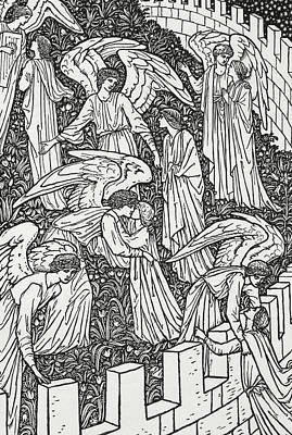 Angels Behind The Inner Sanctuary Print by William Morris