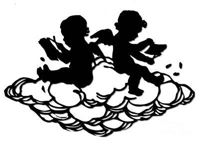 Scherenschnitte Digital Art - Angels Doing Papercutting On A Cloud by Rose Santuci-Sofranko