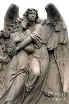 Angels Embracing - Angels Dreamy Romantic Angel Art - Guardian Angel Art  Print by Kathy Fornal