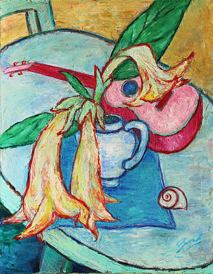 Painting - Angel's Trumpet Flowers And A Ukulele by Xueling Zou