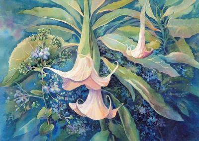 Night Angel Painting - Angels Trumpets II by Marilyn Young