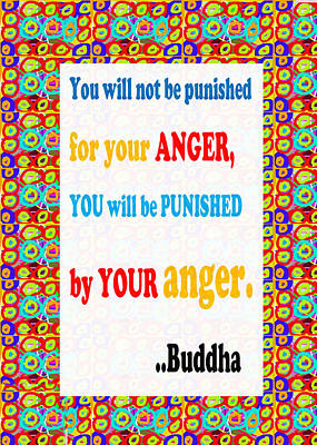 Champion Mixed Media - Anger Buddha Wisdom Quote Buddhism   Background Designs  And Color Tones N Color Shades Available Fo by Navin Joshi