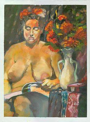 Heavy Woman Painting - Angie At Home by Roger Parker