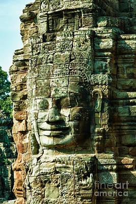 Angkor Bayon Stone Carving Cambodia Print by Fototrav Print