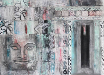 Dancer Relief Painting - Angkor Wat by Diana Perfect