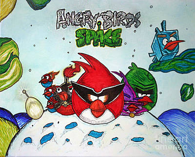 Angry Bird Space Print by Julie Farnsworth