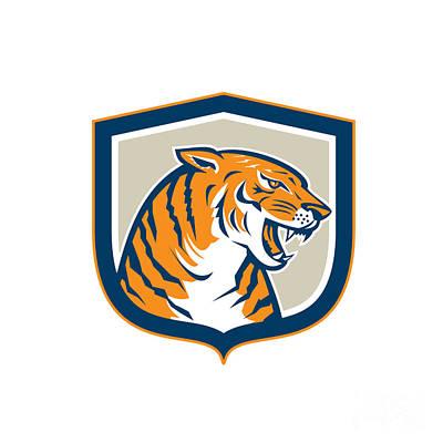 Angry Tiger Head Sitting Growling Shield Retro Print by Aloysius Patrimonio