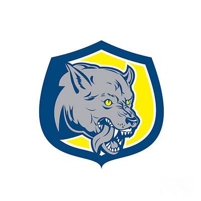 Angry Wolf Wild Dog Head Shield Retro Print by Aloysius Patrimonio