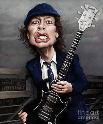 Bust Drawing - Angus Young by Andre Koekemoer