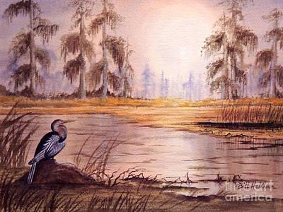 Anhinga Painting - Anhinga At Wakulla Reserve by Bill Holkham