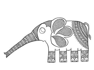Mandala Drawing - Animal Elephant Baby by Neeti Goswami