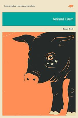Minimalist Book Cover Digital Art - Animal Farm by Jazzberry Blue