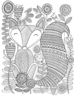 Mandala Drawing - Animal Fox 4 by Neeti Goswami