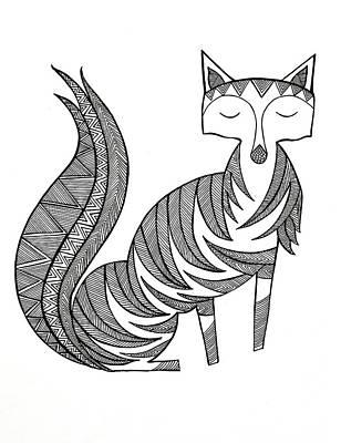 Mandala Drawing - Animal Fox by Neeti Goswami