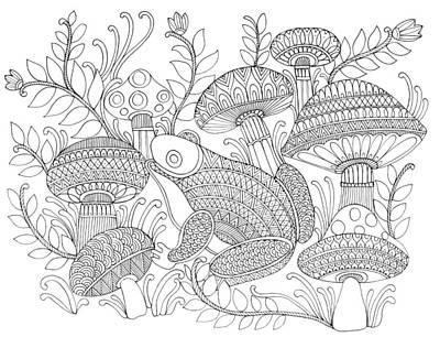 Mushroom Drawing - Animal Frog by Neeti Goswami