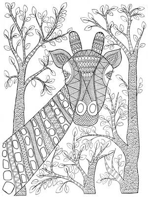 Giraffe Drawing - Animal Giraffe 2 by Neeti Goswami