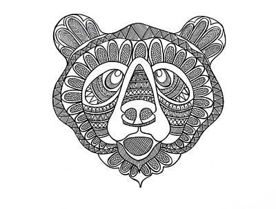 Mandala Drawing - Animal Head Bear by Neeti Goswami