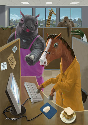 Business Cartoon Painting - Animal Office by Martin Davey