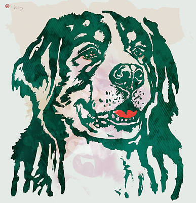 Abstract Of Dogs Drawing - Animal Pop Art Etching Poster - Dog - 1 by Kim Wang