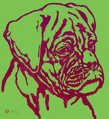 Animal Pop Art Etching Poster - Dog 13 Print by Kim Wang