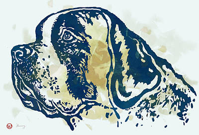 Abstract Of Dogs Drawing - Animal Pop Art Etching Poster - Dog - 3 by Kim Wang
