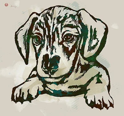 Abstract Of Dogs Drawing - Animal Pop Art Etching Poster - Dog - 4 by Kim Wang