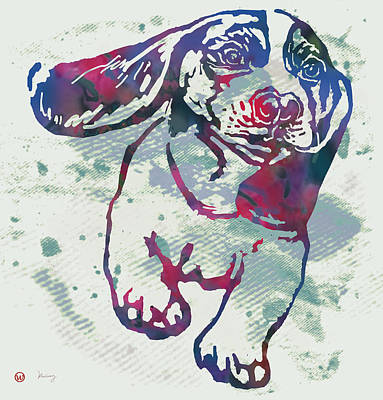 Abstract Of Dogs Drawing - Animal Pop Art Etching Poster - Dog - 6 by Kim Wang