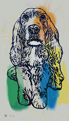 Abstract Of Dogs Drawing - Animal Pop Art Etching Poster - Dog - 8 by Kim Wang
