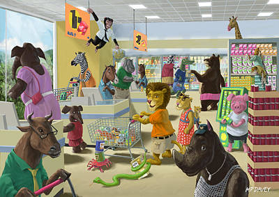 Trolly Painting - Animal Supermarket by Martin Davey