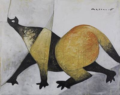 Outsider Painting - Animalia Prowling Cat  by Mark M  Mellon