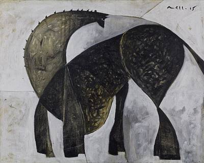 Outsider Painting - Animalia Standing Horse  by Mark M  Mellon