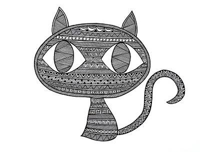 Mandala Drawing - Animals Cat 2 by Neeti Goswami