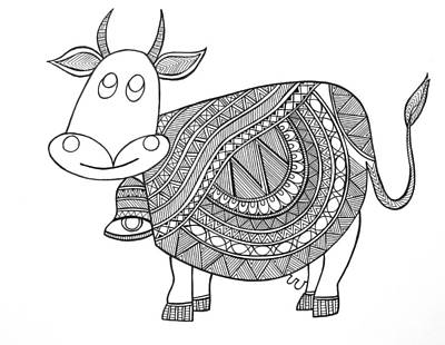Cow Drawing - Animals Cow 3 by Neeti Goswami