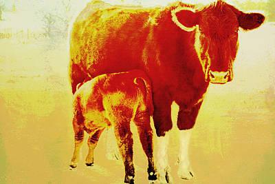 Livestock Digital Art - Animals Cow And Calf by Ann Powell