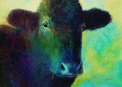 animals - cows- Black Cow Print by Ann Powell