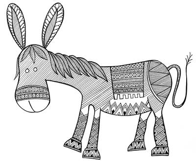 Donkey Drawing - Animals Donkey by Neeti Goswami