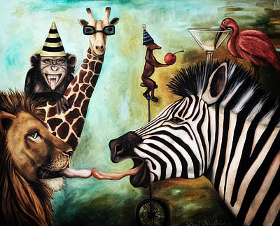 Zebra Painting - Animals Gone Wild Edit 4 by Leah Saulnier The Painting Maniac