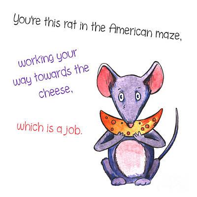 Anime Hungry Mouse With Cheese Rat Job Original by Jolanta Meskauskiene