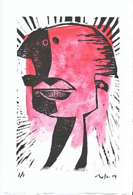Lino-cut Mixed Media - Animus Red by Mark M  Mellon