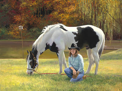 Anita And Horse Print by Laurie Hein