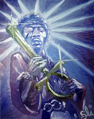 Purple Haze Painting - Ankh'le - Uncle - Jimi by Sean Ivy aka Afro Art Ivy
