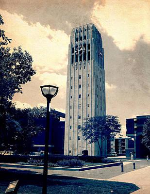 University Of Michigan Digital Art - Ann Arbor Clock Tower by Phil Perkins