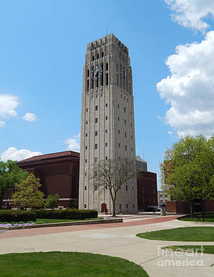 University Of Michigan Digital Art - Ann Arbor Michigan Clock Tower by Phil Perkins