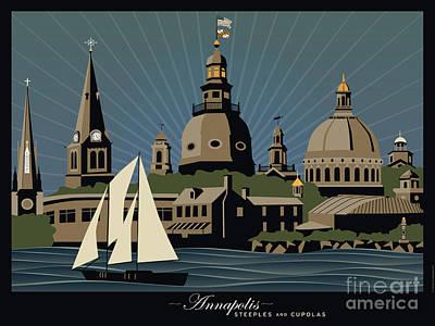 Annapolis Steeples And Cupolas Serenity With Border Original by Joe Barsin