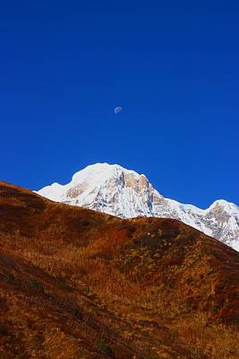 Beautiful Photograph - Annapurna South Moon Rise by FireFlux Studios