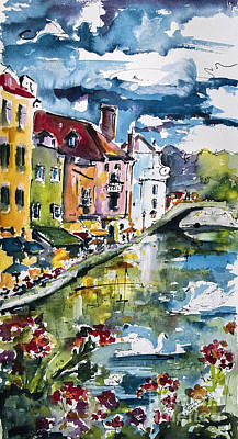 Annecy Canal And Swans France Watercolor Print by Ginette Callaway