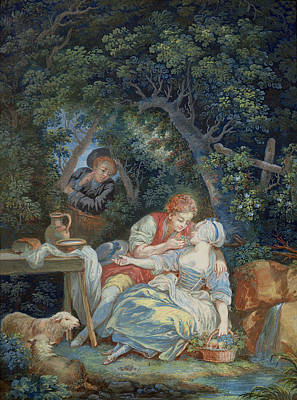 Shepherdess Painting - Annette And Lubin  by Pierre Antoine Baudouin
