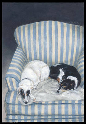 Annie And Spike Napping Print by Diana Moses Botkin