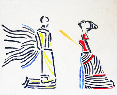 African Contemporary Ceramics Painting - Annunciation by Gloria Ssali
