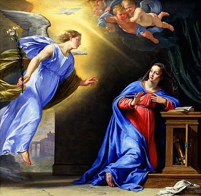 Religious Art Mixed Media - Annunciation by Philippe de Champaigne